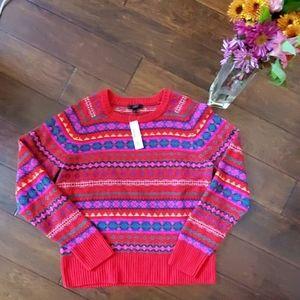 NWT J.Crew Hazelnut Poppy Holiday Sweater (L)